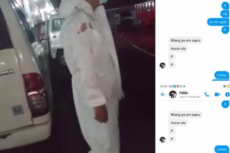 Tangkapan layar video APD sopir ambulans sobek dan mobil ambulans rusak