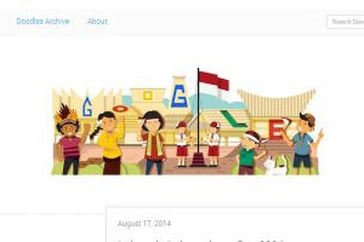 Google Doodle memperingati HUT Kemerdekaan RI ke-69, 17 Agustus 2014 yang merupakan karya ilustrator Indonesia.