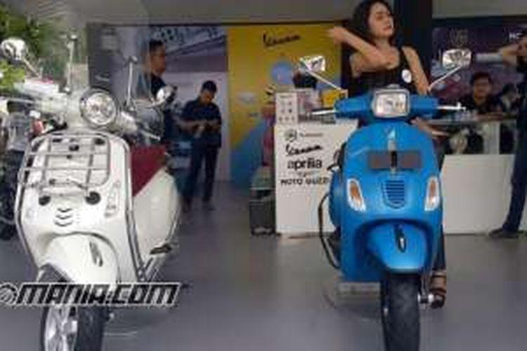PIaggio di Pasar Jongkok Otomotif 2016 all out dengan hampir semua produk dipajang.