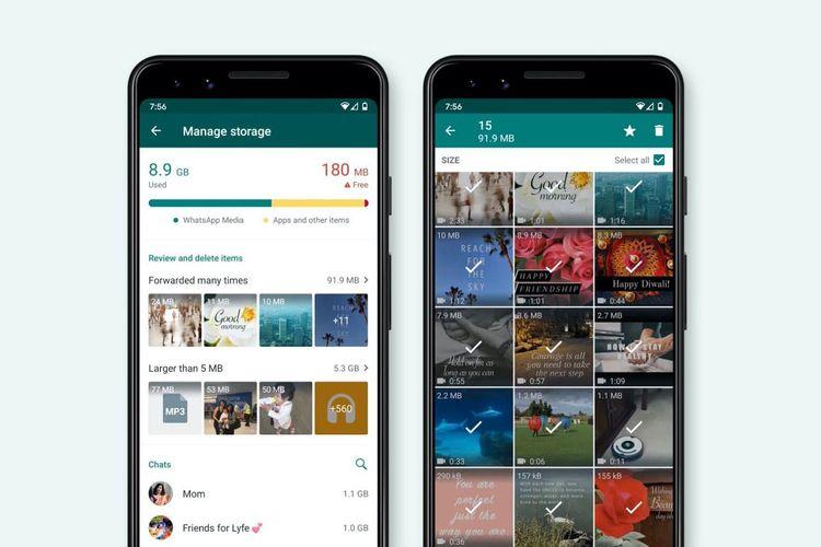Fitur Storage Management di aplikasi WhatsApp