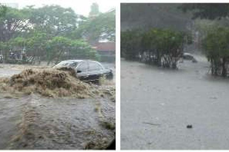 Banjir di pintu tol Pasteur, tepatnya di depan Bandung Trade Center, Kota Bandung.