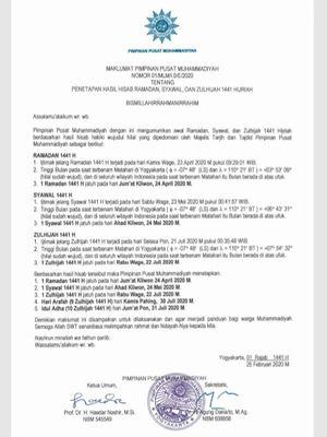 Surat penetapan hasil hisab Ramadhan, Syawal dan Zulhijah 1441 Hijriah Lihat Foto Surat penetapan hasil hisab Ramadhan, Syawal dan Zulhijah 1441 Hijriah(www.muhammadiyah.or.id)