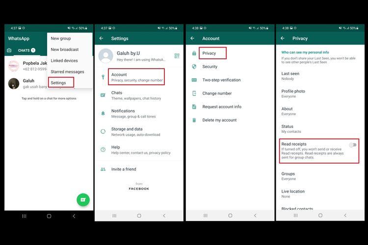 Geser tombol toggle ke arah off (berwarna abu-abu) untuk mematikan fitur read receipt di WhatsApp.