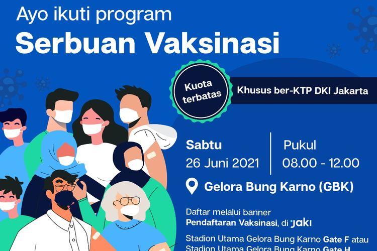 Vaksinasi massal digelar di Stadion Utama Gelora Bung Karno (GBK) pada Sabtu (26/6/2021) pagi hingga siang.