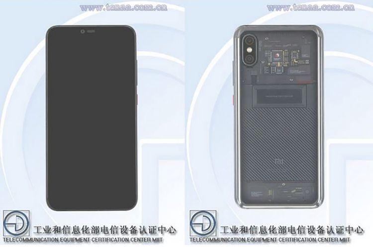 Penampakan Xiaomi Mi Note 4 dengan punggung transparan di situs TENAA.