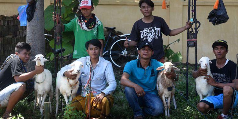 Karapan kambing di lapangan Sumberasih, Probolinggo, Jawa Timur. Dua pasang kambing dipacu untuk mencari yang tercepat. Hanya saja joki karapan kambing tidak menaiki keleles seperti karapan sapi, melainkan berlari di belakangnya.