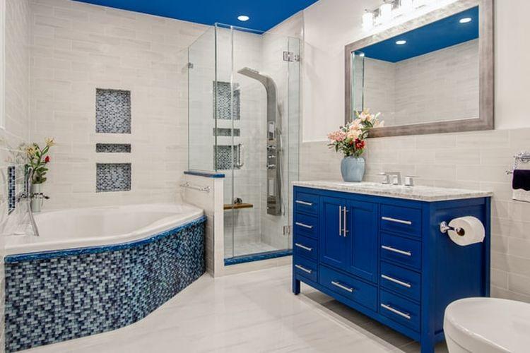 Ilustrasi kamar mandi biru