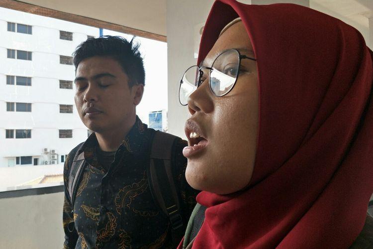 Gita dari LBH Paham (Pusat Advokasi dan Ham) selaku kuasa hukum lima dari sepuluh anak yang ditangkap 22 Mei di Pengadilan Negeri Jakarta Pusat, Senin (5/8/2019).