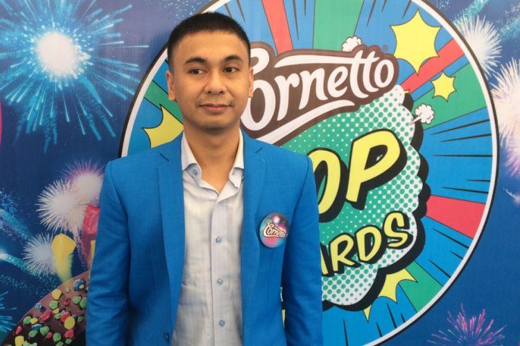Raditya Dika usai acara Cornetto Pop Awards di Studio 6 Emtek, Jakarta Barat, Sabtu (22/7/2017).