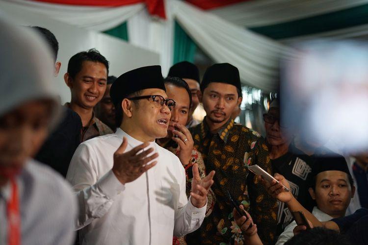Ketua Umum Partai Kebangkitan Bangsa (PKB) Muhaimin Iskandar atau akrab disapa Cak Imin saat ditemui di rumah dinas Wakil Ketua MPR, Kompleks Widya Chandra, Jakarta Selatan, Sabtu (18/5/2019).
