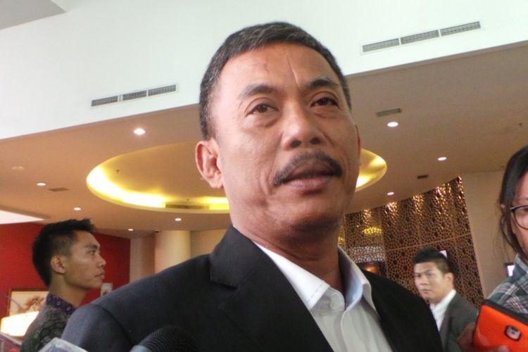 Ketua tim pemenangan Ahok-Djarot, Prasetio Edi Marsudi, di Hotel Novotel, Jakarta Barat, Kamis (9/3/2017).