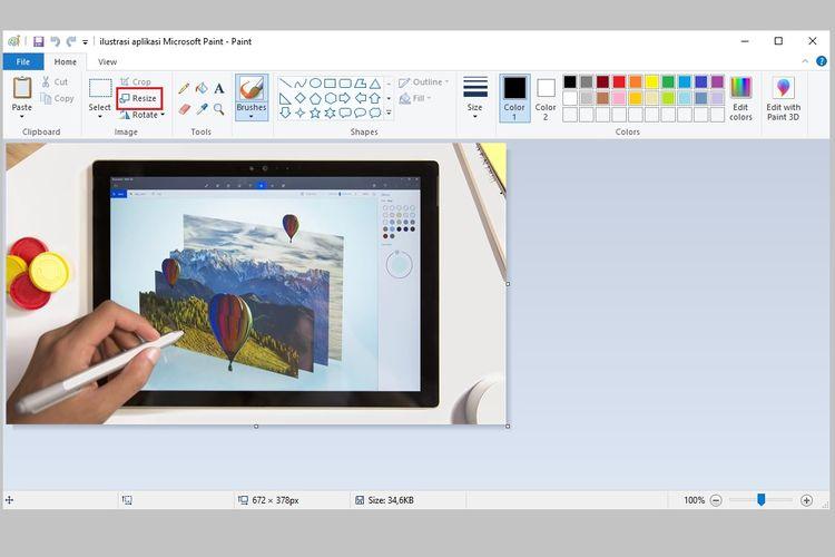 Cara mengubah ukuran gambar (resize) di Microsoft Paint
