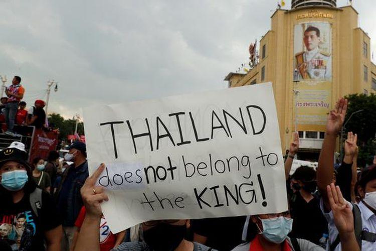 Aksi protes gerakan pro-demokrasi di Thailand.