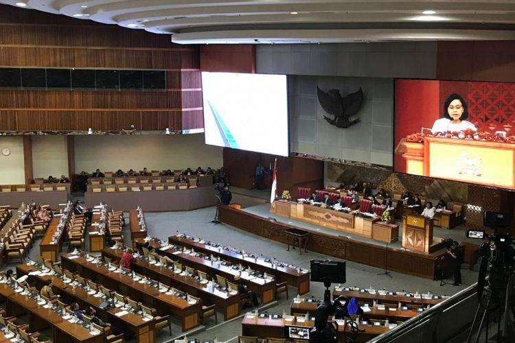 Suasana rapat paripurna pengesahan RUU APBN 2019 di DPR RI, Rabu (31/10/2018). Seluruh fraksi di DPR sepakat mengesahkan RUU APBN 2019 menjadi Undang-Undang.