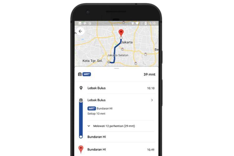 Tampilan antarmuka fitur Transit di Google Maps menunjukkan rute perjalanan MRT Jakarta.