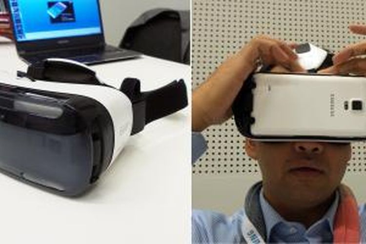 Samsung Gear VR dalam kondisi utuh (kiri) dan saat dicoba tanpa menggunakan penutup depan (kanan). Gear VR menggunakan Samsung Galaxy Note 4 sebagai sumber display.