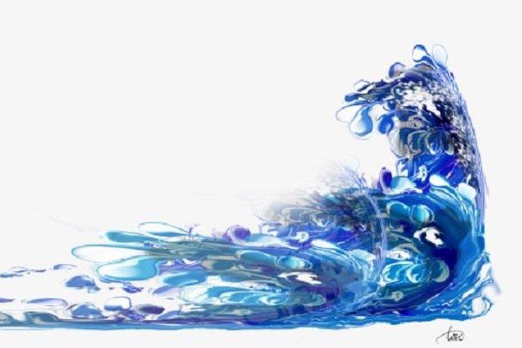 Ilustrasi banjir dan ombak