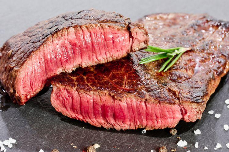 ilustrasi medium beef steak.