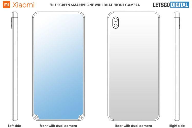 Ilustrasi paten Xiaomi dengan kamera selfie di ujung bawah
