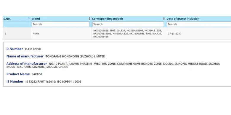 Tangkapan layar sertifikasi laptop Nokia dari situs Bureau of Indian Standards (BIS).