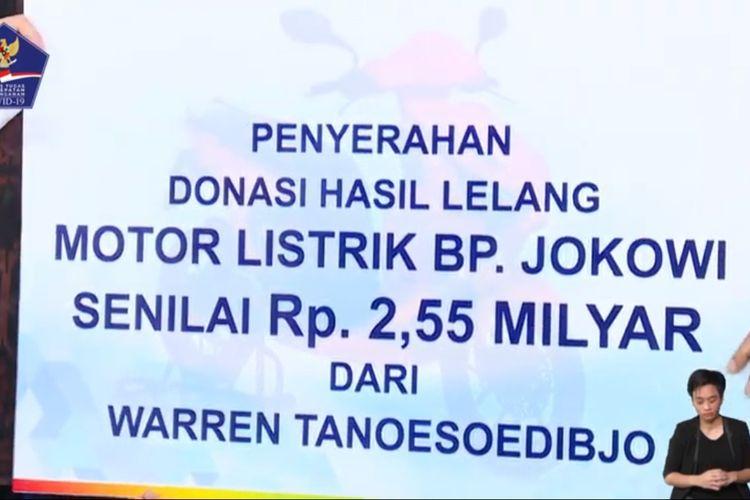 Warren Tanoesoedibjo lelang motor listrik Gesits bertanda tangan Presiden Joko Widodo diumumkan di Gedung Graha BNPB, Jakarta, Jumat (22/5/2020).