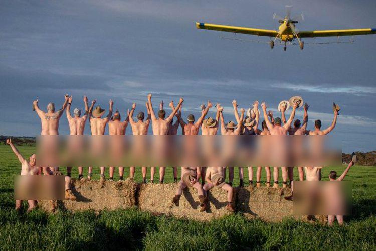 Sekelompok besar petani dari sekitar Semenanjung Yorke secara sukarela mengambil bagian dalam pemotretan Naked Farmer.