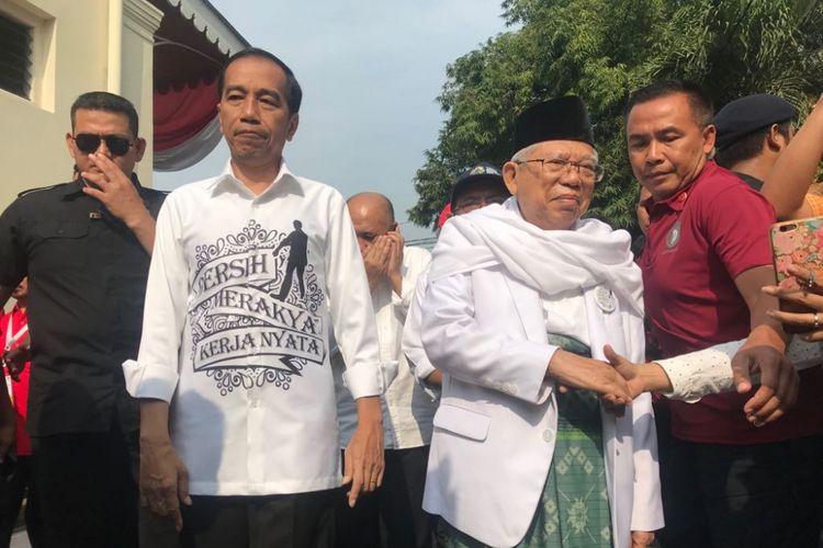 Calon presiden Joko Widodo dan calon wakil presidennya Maruf Amin mendatangi Gedung Joang 45, Menteng, Jakarta Pusat, Jumat (10/9/2018).
