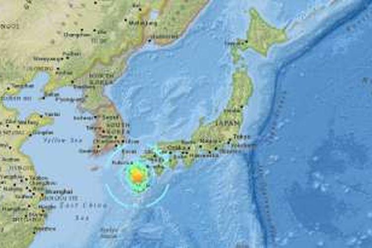 Pusat gempa 7.1 pada Sabtu (16/4/2016) pukul 01.25 di Pulau Kyushu.