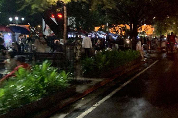 Kerumunan saat libur panjang di sekitar ruas jalan Malioboro