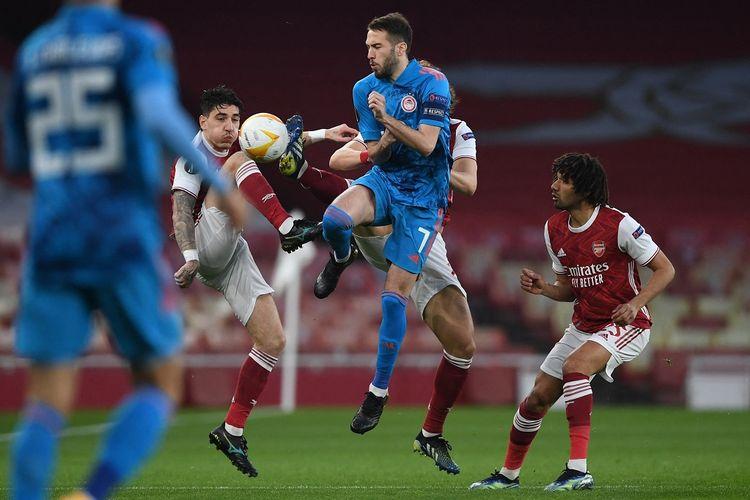 Laga Arsenal vs Olympiacos pada leg kedua 16 besar Liga Europa yang berlangsung di Stadion Emirates, London, Jumat (19/3/2021) dini hari WIB.