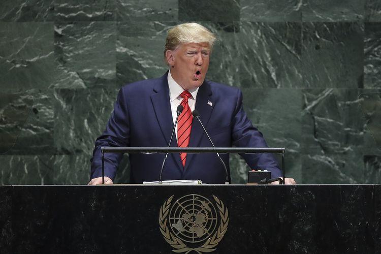 Presiden Amerika Serikat Donald Trump ketika berpidato dalam Sidang Umum PBB yang dilangsungkan di New York, 24 September 2019.