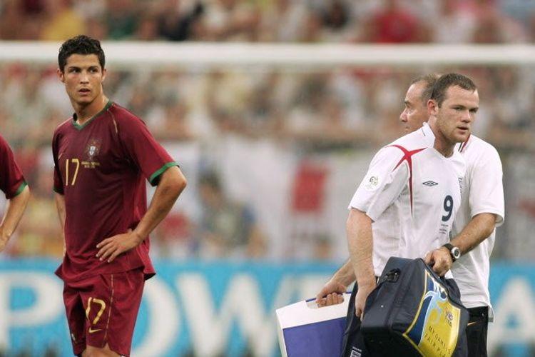 Cristiano Ronaldo dan Wayne Rooney dalam laga Inggris vs Portugal pada perempat final Piala Dunia 2006.
