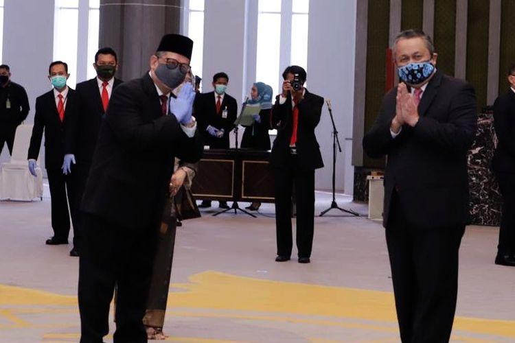 Pengambilan sumpah jabatan Deputi Gubernur Bank Indonesia (BI) Doni Primanto Joewono di Jakarta, Selasa (11/8/2020).