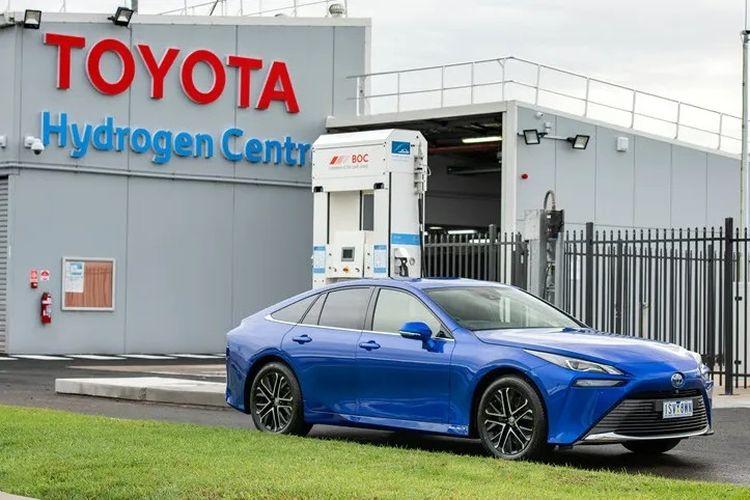 Toyota Mirai di fasilitas mobil hidrogen milik Toyota di Australia.