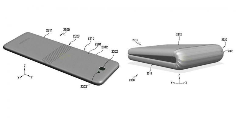 Konsep ponsel lipat dalam dokumen paten yang diajukan Samsung.