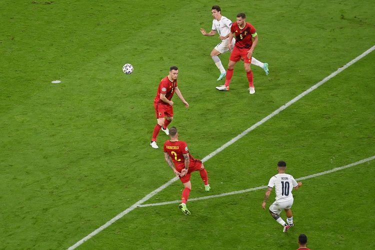 Winger Italia Lorenzo Insigne saat membobol gawang Belgia pada laga perempat final Euro 2020 di Stadion Allianz Arena, Muenchen, Jerman, Sabtu (3/7/2021) dini hari WIB.