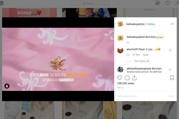 Bidik layar akun Instagram toko daring milik Syahrini, @fatimahsyahrini.