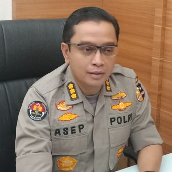 Kepala Bagian Penerangan Umum (Kabagpenum) Polri Kombes Pol Asep Adi Saputra di Gedung Humas Mabes Polri, Jakarta Selatan, Senin (3/6/2019).
