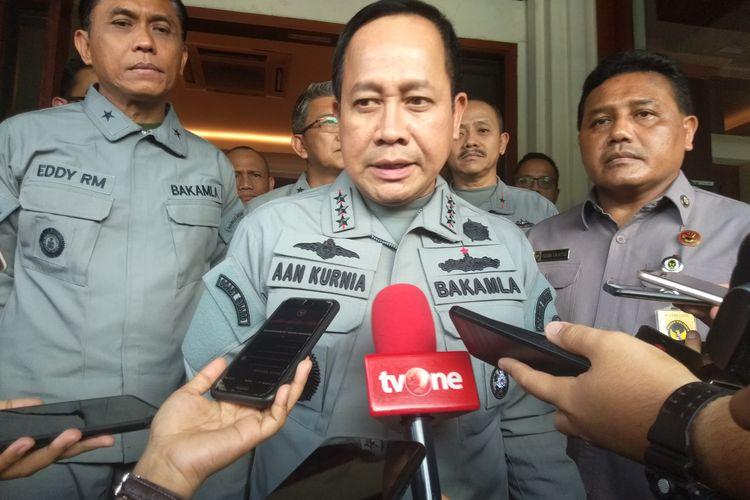 Kepala Badan Keamanan Laut (Bakamla) Laksamana Madya Aan Kurnia saat ditemui di Kantor Kemenko Polhukam, Jalan Medan Merdeka Barat, Jakarta Pusat, Rabu (19/2/2020).