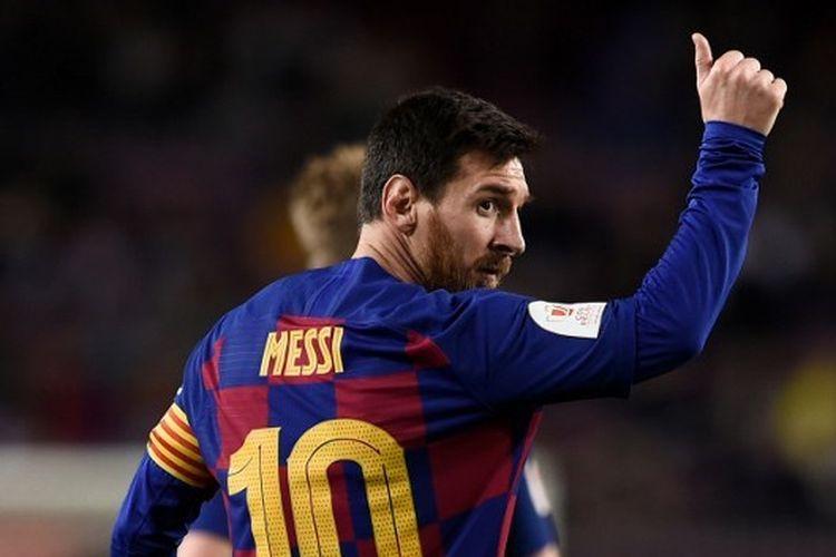Penyerang Barcelona, Lionel Messi pada laga kontra Leganes di Stadion Camp Nou, Jumat (31/1/2020) dini hari WIB.