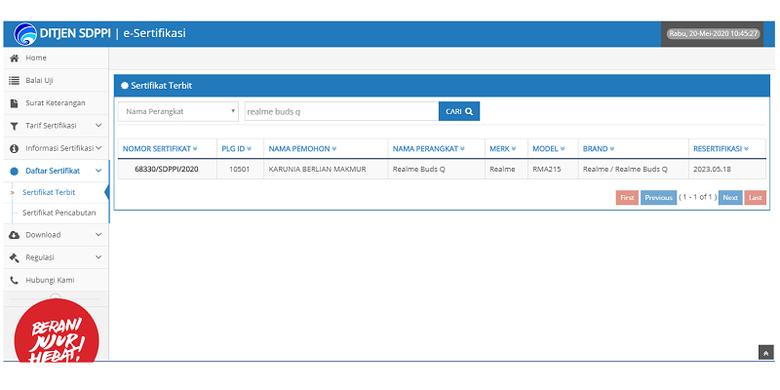 Sertifikasi Realme Buds Q di laman Postel Ditjen Kemenkominfo.