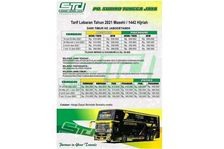 Harga Tiket Bus Sudiro Tungga Jaya pasca lebaran