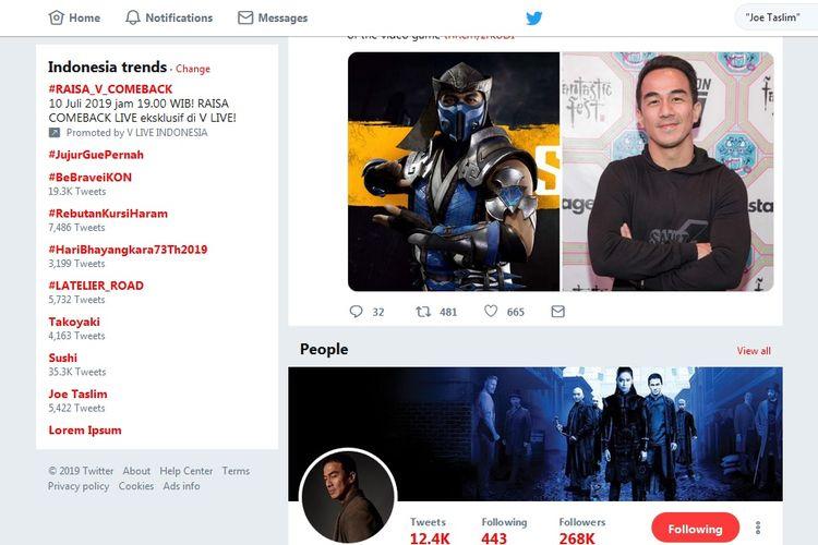 Aktor laga Joe Taslim masuk trending topic di Twitter. Joe Taslim baru saja diketahui bakal memerankan Sub-Zero di film Mortal Kombat.