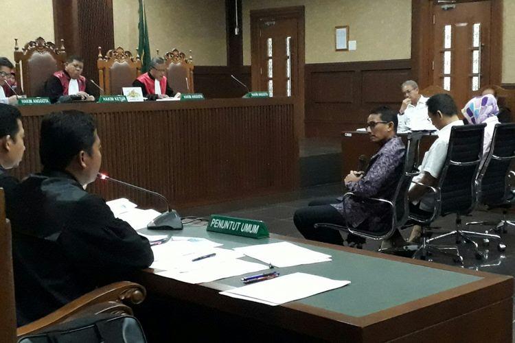 Pengusaha sekaligus Wakil Gubernur DKI Jakarta Sandiaga Uno, di Pengadilan Tipikor, Rabu (30/8/2017)