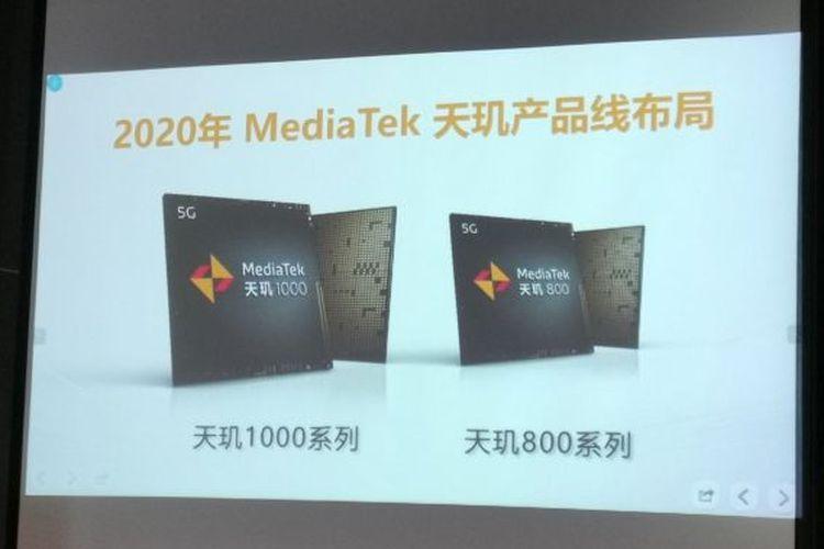 Chipset Mediatek Dimensity 1000 dan Dimensity 800.