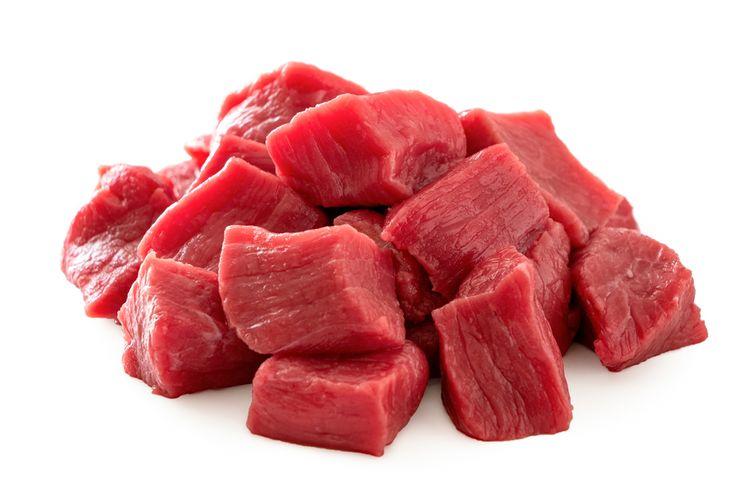 ilustrasi daging sapi yang sudah dipotong.