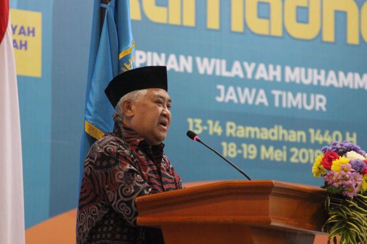 Mantan Ketua Umum Pimpinan Pusat Muhammadiyah, Din Syamsuddin saat menghadiri Kajian Ramadhan oleh PWMU Jawa Timur di Universitas Muhammadiyah Malang (UMM), Minggu (19/5/2019).