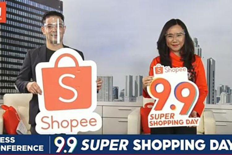 Country Industry Head Twitter Indonesia Dwi Adriansah dan Director of Shopee Indonesia Christin Djuarto dalam  diskusi Shopee 9.9 Super Shopping Day yang disiarkan secara virtual, Selasa (18/8/2020).  (Tangkapan Layar)