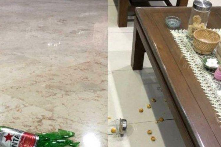 Toples kue nastar di Pendopo Kabupaten Tulungagung yang pecah dibanting anggota DPRD Tulungagung. Juga membanting botol bir di lantai Pendopo Kabupaten Tulungagung.