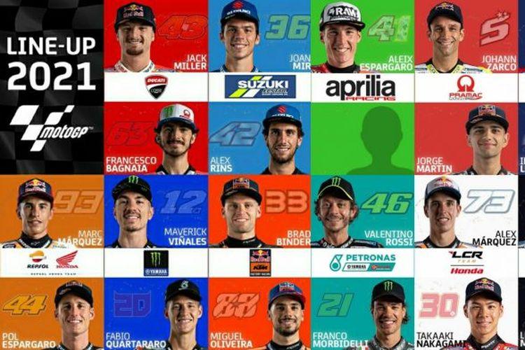 Susunan pebalap MotoGP 2021.
